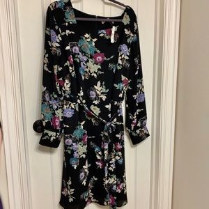 NWT black floral LOFT long sleeves dress belt